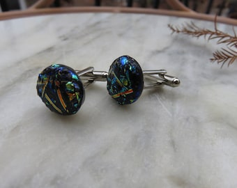 Abstract Black Dichroic Glass Cuff Links