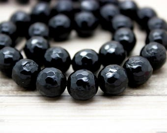 Black Onyx Faceted Round Beads Natural Gemstone (4mm 6mm 8mm 10mm 12mm)