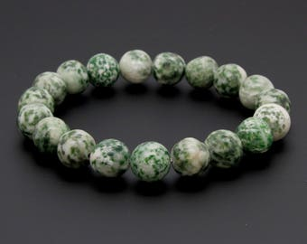 "Tree Agate Gemstone Beads Size 10mm. Length 8"" Semi-Precious Gemstone Elastic Cord Bracelet Accessories"