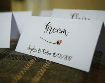 Personalised wedding table place cards