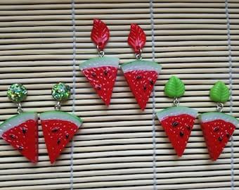 Juicy Watermelon - Earrings  - Rockabilly - Pinup - Vintage Inspired- 50s - 40s -Fruit