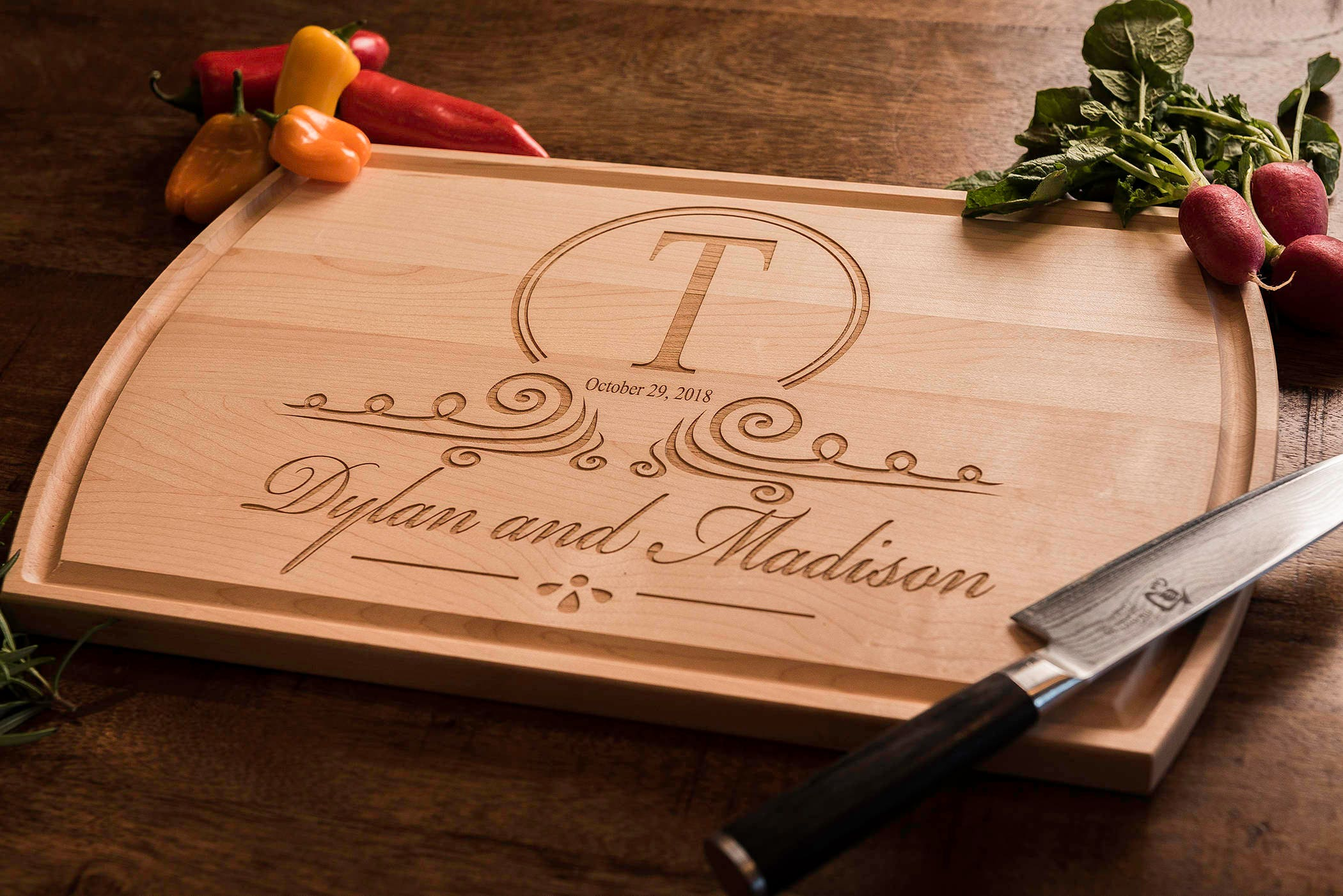 Personalized wedding gift monogrammed wood cutting board personalized wedding gift monogrammed wood cutting board engagement gift anniversary gift gift for parents gift for couple engraved negle Images