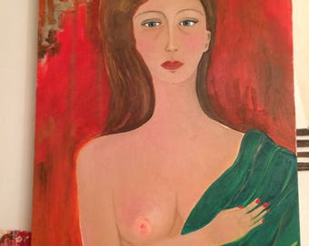 """Painting """"Bust of woman with green scarf"""" oil, canvas on stretcher, figurative"""