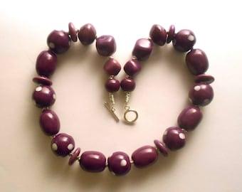 Kazuri fair trade 18 inch ceramic bead necklace in rich purple