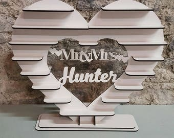 Heart Shaped Wooden Ferrero Rocher Stand Personalised for Weddings