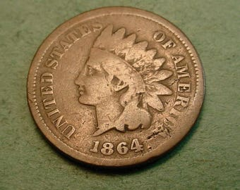 1864-L Indian Head Cent Good   / Insurance included in SH  <>ET5367