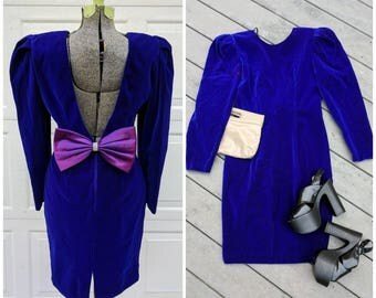 Vintage 80's Deep Purple Velvet Party Dress w Plunging Back & Bow || 80's Backless Midi Dress