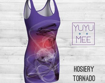 "Ultraviolet Body Con Dress, ""Hosiery Tornado"""