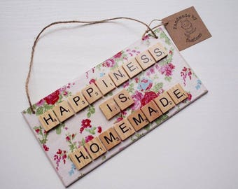 Happiness Is Homemade Decoupage Scrabble Tile Wall Hanging Plaque Sign