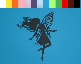 "4 Dancing Fairy Silhouette Die Cuts 4"" X 3 1/8"" Choose Your Color Cardstock Paper Fairies Scrapbooking Embellishments Card Making"