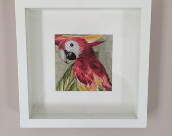 Metallic Parrot Artwork in frame Fathers Day gift