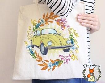 Vintage Yellow Car Tote Bag, Floral Car Tote, Bridesmaid Car Tote, Watercolor Floral Tote, Travel tote bag, Canvas Tote, TB-057