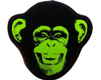stained glass monkey chimp