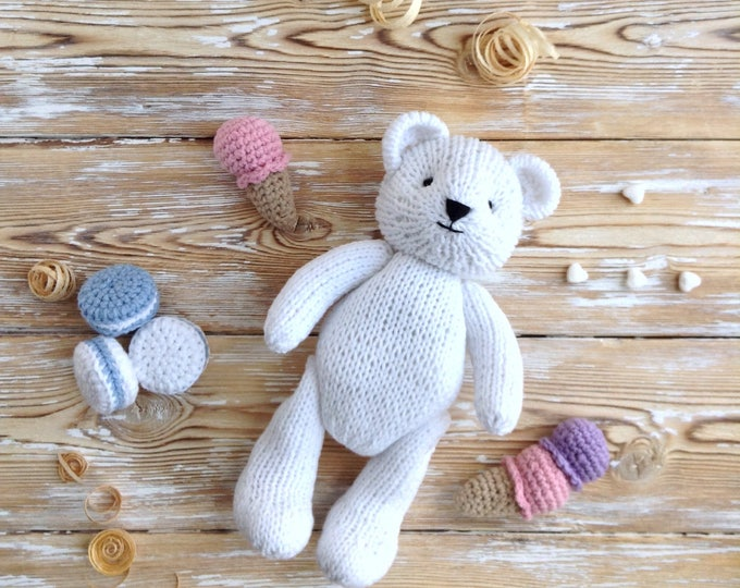 Knitted Teddy Bear, stuffed animals, hand knit toys, newborn photo prop, first toy, white bear, softies, soft plush toy, baby gift
