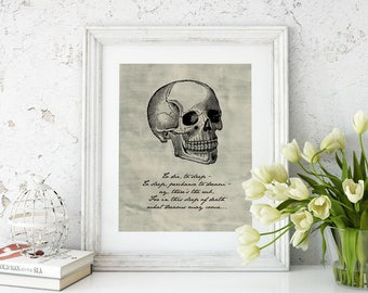 Printable Hamlet Quote | William Shakespeare | What Dreams May Come | Literary Quote | Instant Download | Literary Art | Skull Dorm Decor