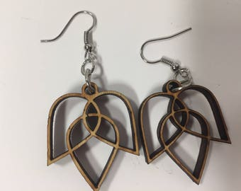 Wooden Lotus Flower Earrings