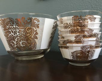 Mid-Century Modern Serving Bowl with 7 small matching bowls