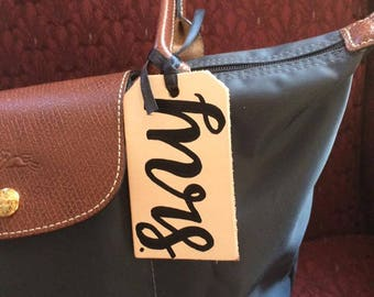 Leather Luggage Tags with  Handlettering