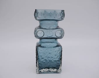Smoky Blue Kehrä Glass Vase by Tamara Aladin for Riihimäki