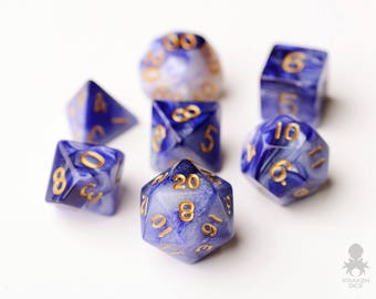Dungeons and Dragons Polyhedral Dice Set with Bag | Blue Violet & Black Polyhedral Dice Set - Blue Violet Smoke (KD0013)