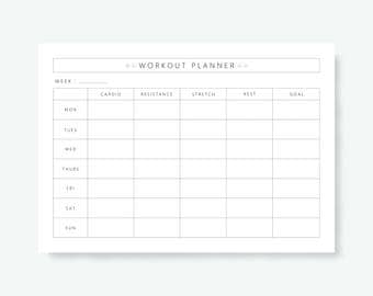 Workout planner | Etsy