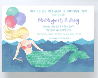 Watercolor Mermaid Invitation // Birthday Party
