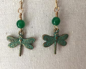 Gold patina dragonfly earrings