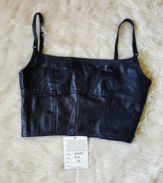 Vintage 90s deadstock leather tank top crop top. Sexy biker girl leather top vintage 90s goth grunge