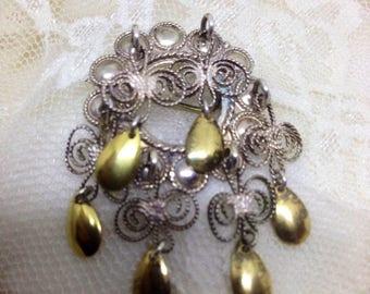 Norwegian Solje wedding brooch silver Filigree