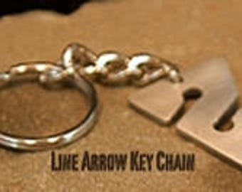 Pewter Line Arrow Key Chain