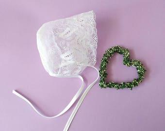 White lace baby bonnet