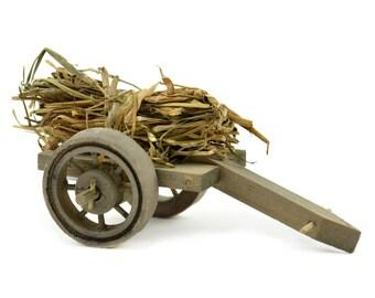 """Wood Wagon with Straw, 4.5"""" x 2.5"""" - Miniature Fairy Garden Dollhouse"""