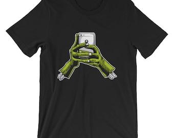 Zombie Hands Holding Phone Short-Sleeve Unisex T-Shirt