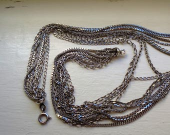 Vintage Italian UnoAErre Sterling Silver Nine-Chain Necklace Weight: 78gms   Seven Hallmarks