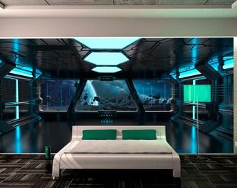 Wall Mural Sci Fi Photo Art. Wall Mural Futuristic Spaceship. Fantastic  Interioir Photo Part 79