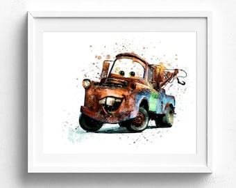 Tow Mater, Art Print, Mater Print, Mater Poster, Disney Poster, Wall art, Disney Gift, Watercolor, Pixar Cars, Abstract, Nursery, Home Decor