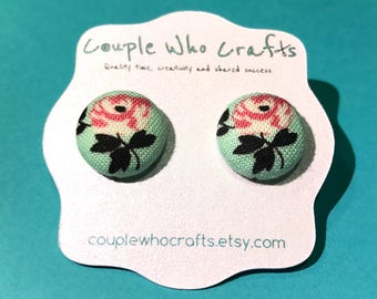 Pink and Green Flower Fabric Covered Button Earrings Stud Earrings Fabric Jewelry Fabric Button Earrings Button Studs Posts Costume Jewelry