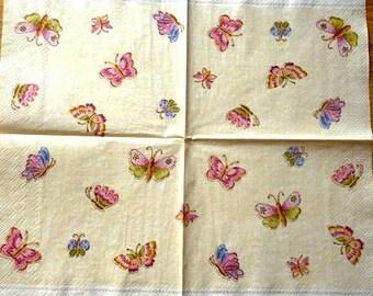 Multicolored butterflies paper towel