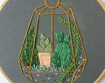 terrarium embroidery hoop gray