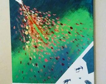 Large wall art, acrylic on canvas, Modern art, Abstract art, original: Push