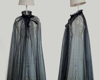 Hood cape black tulle Vintage Handmade black, decorated with tiny dots and pretty velvet Ribbon, velvet