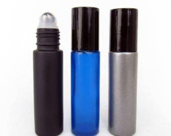 Set of 3 Hero Color 10ml Roll On Bottle with Stainless Steel Ball from Rivertree Life