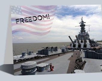 Freedom - USS Alabama 1942 Greeting Cards, Birthday Cards, Military Historical Art, World War II, Photography Cards, Historical Cards