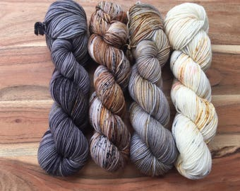 Pre-Order - Comfort Fade Cardi - Kit 5, Hand Dyed Yarn, DK Weight, 100% SW Merino, Indie Dyed Yarn, Speckled Yarn