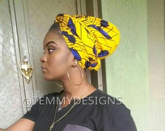 African headwrap with blue bulbs, African turban, Ankara headwrap, Ankara turban, women clothing, African dress