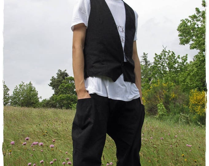 Sarouel and coordinated chic waistcoat in black linen