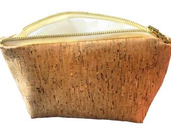 Vegan Cork Leather Makeup Bag Made In The UK
