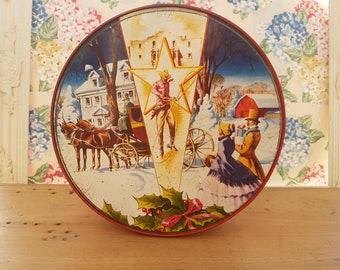 Vintage Christmas Tin. Famous Collin Bakery Fruitcake, Texas. Cowboy