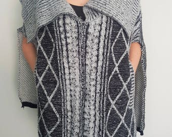 knitted poncho, wool poncho, womens poncho, chunky knit, cable knit, cable knit sweater, oversized sweater, oversize knit, wool cloak