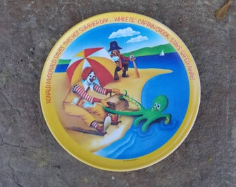 Vintage Ronald McDonald And Captain Crook Plate